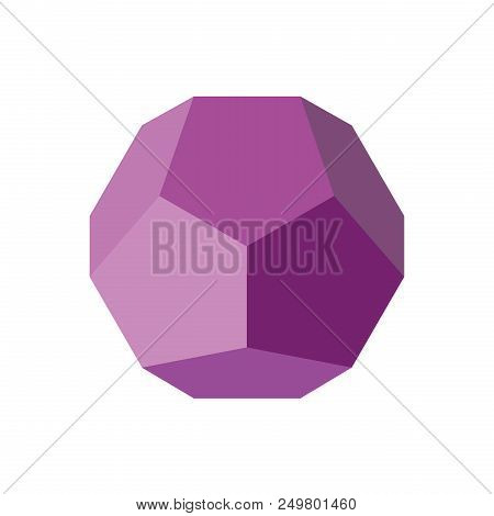 Colorful Geometrical Figure Vector Illustration On Purple Tones: Dodecahedron