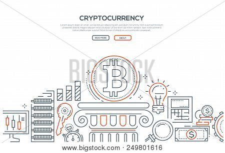 Cryptocurrency - Line Design Style Illustration On White Background With Place For Your Text. High Q