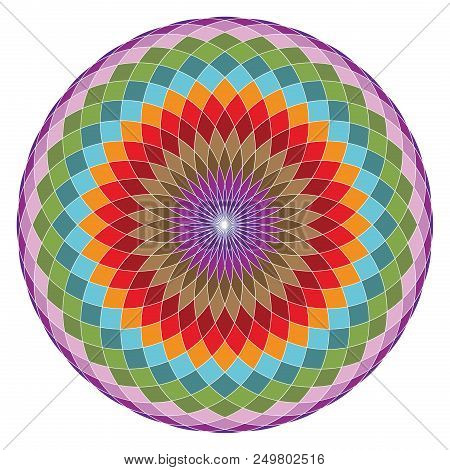 Colorful Geometrical Figure. Sacred Geometry Torus Yantra Or Hypnotic Eye Vector Illustration
