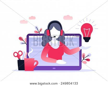 Concept Customer And Operator, Online Technical Support 24-7 For Web Page. Vector Illustration Femal