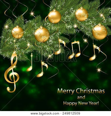abstract new year background with musical notes and treble clef on a christmas tree branch