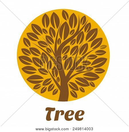 Tree Logo Template. Brown Tree Vector Logo Design Template. Plant, Nature And Ecology. Garden Creati