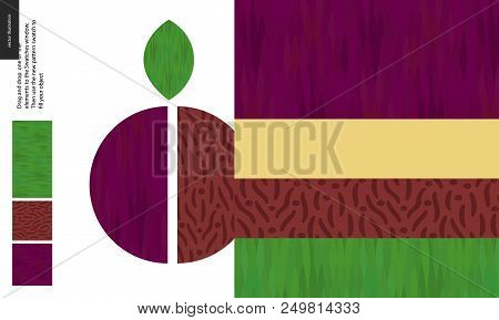 Food Patterns, Summer - Fruit, Plum Texture, Half Of Plum Image On Side - Four Seamless Patterns Of