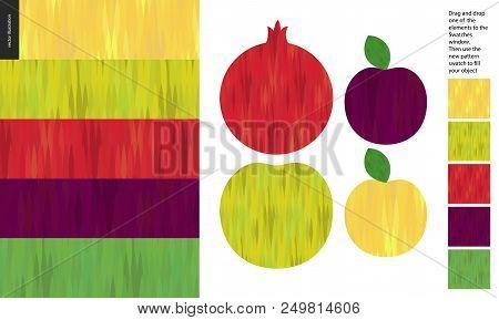 Food Patterns, Flat Vector Illustration - Apple, Pomegranate, Plum Texture - Five Seamless Patterns