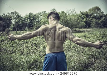 Back Of Handsome Muscular Shirtless Young Hunk Man Outdoor In Nature Standing On Grass. Showing Heal