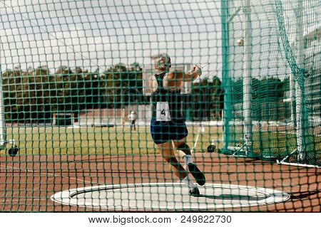 Hammer Throw Back Woman Thrower Athletics Competition