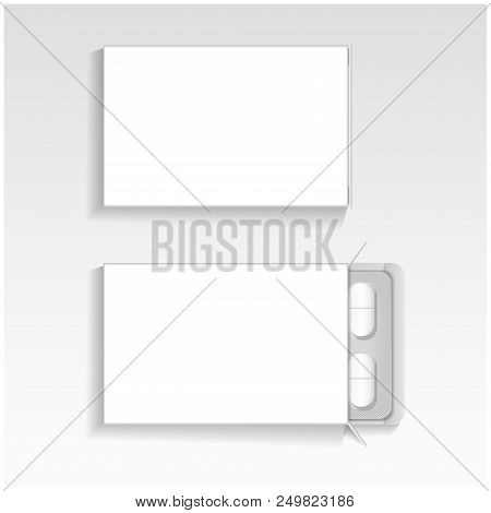 White Package With Oval Tablets Medicines Mock Up Vector Template. Painkillers, Antibiotics, Vitamin