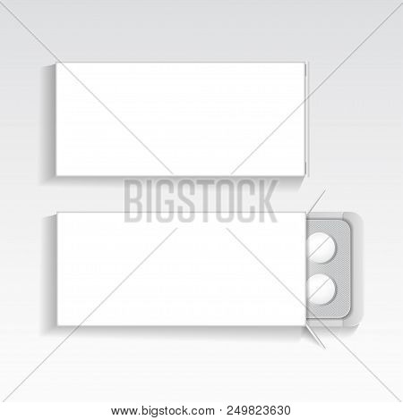 White Package With Tablets Medicines Mock Up Vector Template. Painkillers, Antibiotics, Vitamins, As