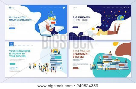 Set Of Web Page Design Templates For Online Education, Training And Courses, Learning, Video Tutoria