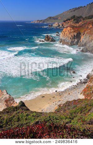 California, United States - Pacific Coast At Big Sur Region.