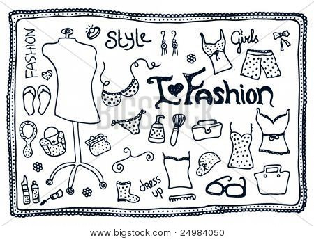 Female love for fashion accessories doodles vector set