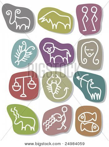 Set of zodiac horoscope signs in vector