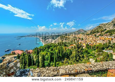 Taormina, Italy - September 18 2016: Looking Down From The Ancient Greek Theatre At Taormina, Italy,