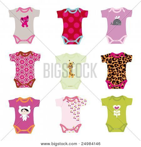 Baby arrival announcement card with tiny jump suits