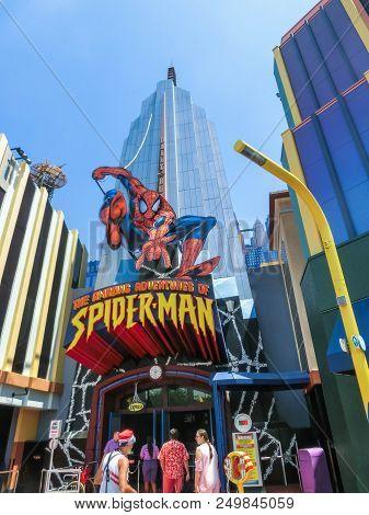 Orlando, Florida, Usa - May 09, 2018: Entrance To Spiderman Ride. Universal Studios Orlando Is A The