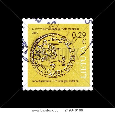 Lithuania - Circa 2015 : Cancelled Postage Stamp Printed By Lithuania, That Shows Old Coin.