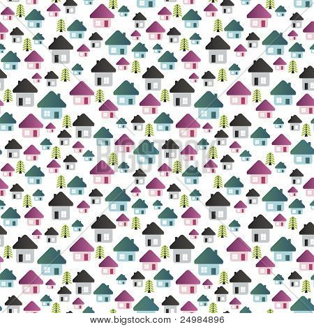 Seamless city house pattern in vector