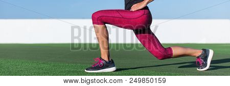 Fitness woman doing lunge exercise workout for cellulite weight loss, glute and leg muscle workout training core muscles, balance. girl doing front forward one leg step lunges banner panorama.