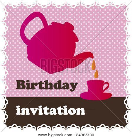 Birthday high tea invitation card design in vector
