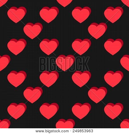 Vector Flat Hearts Seamless Pattern. Valentines Day Background. Red And Black Sexy Love Pattern.  Ro