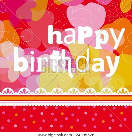 Colorful happy birthday card design with flowers in vector