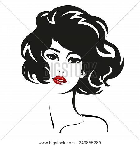 Woman Face. Vector Fashion Portrait Of Pretty Girl With Red Lips For Your Design