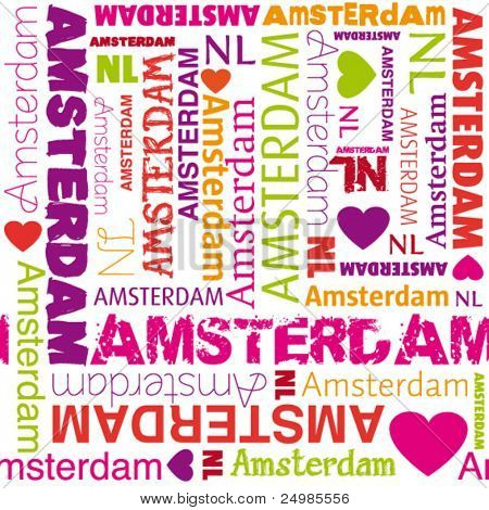 I love amsterdam typography background pattern in vector