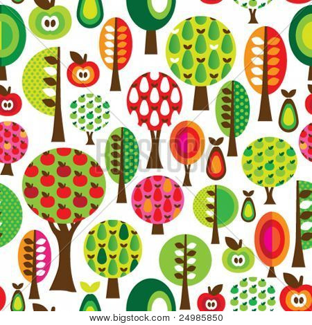 Seamless cute tree apple and pear pattern in vector