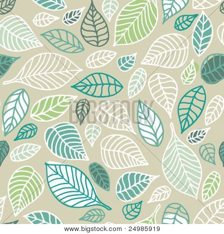 Seamless soft tones leaf autumn pattern doodle background in vector