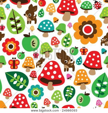 Seamless retro mushroom autumn deer pattern with apple illustration in vector