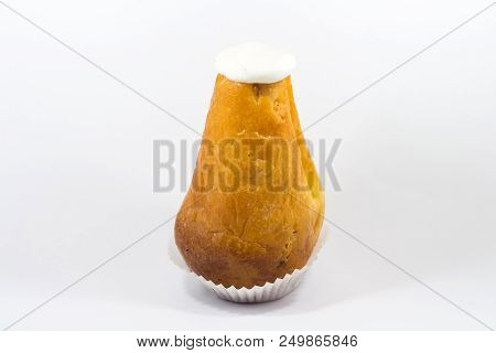 One yummy sugar rum baba isolated on a white background. poster