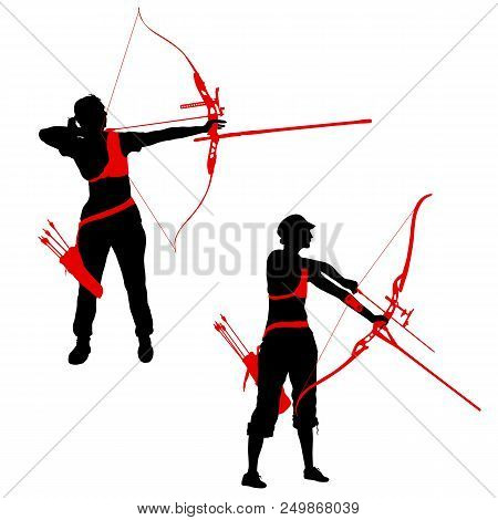 Set Silhouette Attractive Female Archer Bending A Bow And Aiming In The Target.