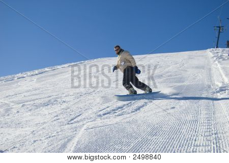 Man Snowboarding Stock Photo