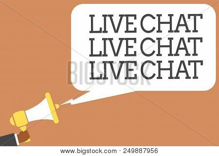 Conceptual Hand Writing Showing Live Chat Live Chat Live Chat. Business Photo Showcasing Talking Wit