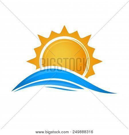 Sun Over Sea Waves. Sun And Sea. Sun Logo Icon Isolated On White Background. Editable Vector Illustr
