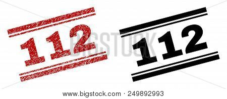 112 Stamp Seal Print With Red Corroded And Clean Black Version. Red Vector Rubber Print Of 112 Capti