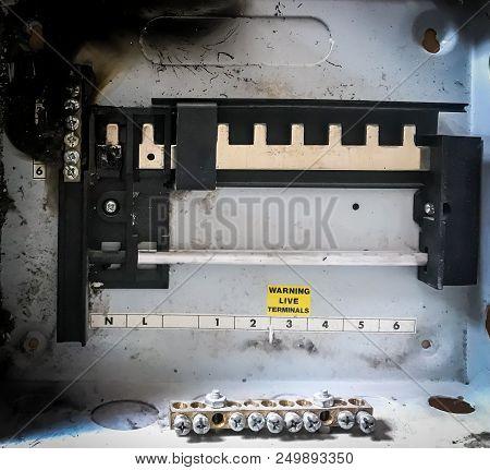 Electrical Break Circuit Breaker Box Burned On Fire