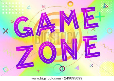 Game Zone Text, Colorful Lettering In Modern Gradient On Bright Geometric Pattern Background, Stock