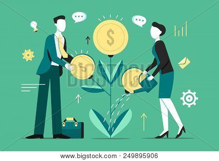Investment Tree Growth Vector Illustration Of Businessman Profit Income Of Money Coins On Tree And W