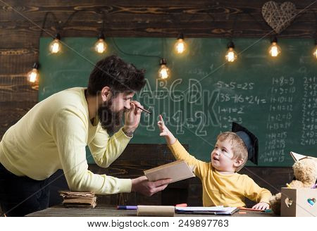 Information Concept. Man Teacher Share Information With Pupil In School. Child Get Information From