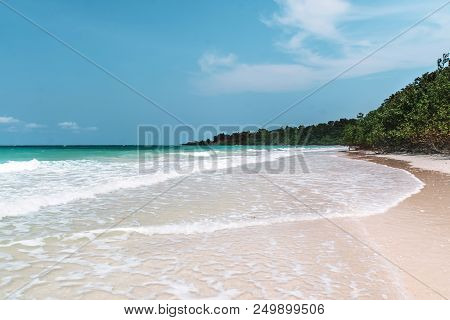 Sea With A White Sand Beach. Aerial View From Above. Sea Waves. Sand Beach Aerial, Top View Of A Bea
