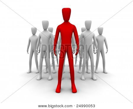 3d people with one in front representing leadership
