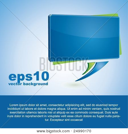 Abstract vector background with a blue rectangular speech bubble