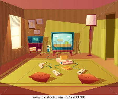 Vector Cartoon Illustration Of Empty Playroom For Children With Game Console, Tv Screen And Joystick