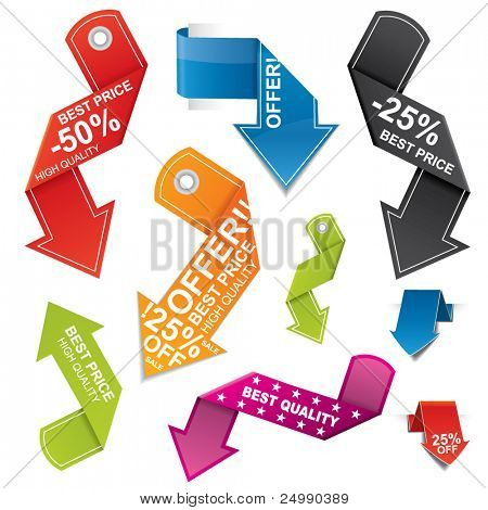 Modern, colorful arrow shaped price tag set with different color and design variations