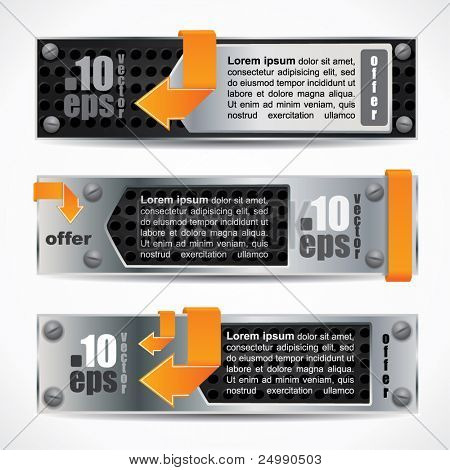 Modern web2 style banner set with metal design and orange arrows