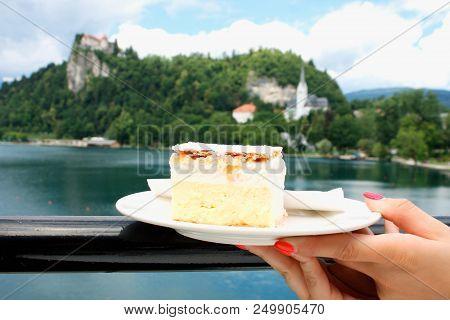 Vanilla And Custard Cream Cake On Bled Lake In Slovenia