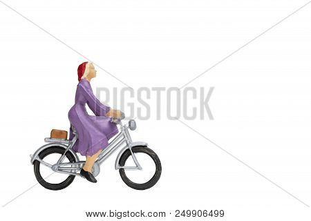 Miniature People Travellers With Bicycle Isolate On White Background