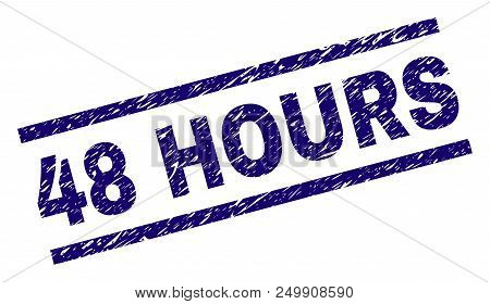 48 Hours Stamp Seal Watermark With Grunge Style. Blue Vector Rubber Print Of 48 Hours Text With Grun