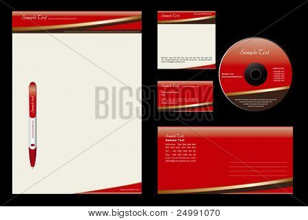 Gold Chocolate  - template vector background (blank, card, cd, note-paper, envelope, pen)